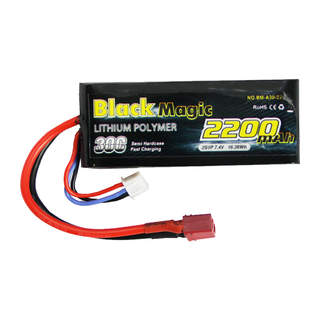 Black Magic LiPol Car 7.4V 2200mAh 30C Deans